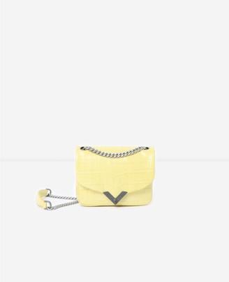 The Kooples Mini yellow crocodile-print Stella bag