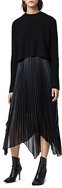 AllSaints Lerin Two-Piece Pleated Dress