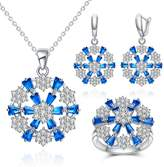 Jiangyue Exquisite Jewelry Sets Cubic Zirconia Rhodium Plated Rectangle Diamond Engagement Pendant Earring Ring Set For Women Size 7 Color