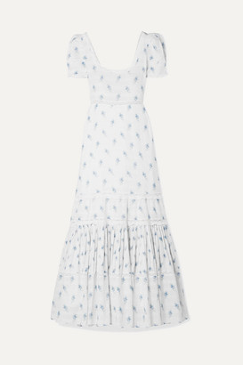LoveShackFancy Ryan Lace-trimmed Printed Cotton-voile Maxi Dress - White