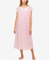 Eileen West Lace-Trimmed Printed Ballet-Length Nightgown