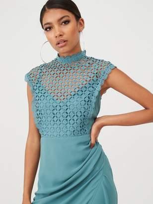 Little Mistress Lace Overlay Wrap Midaxi Dress - Blue/Mint