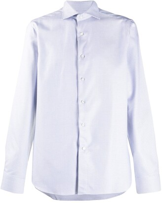 Canali micro-print French collar shirt