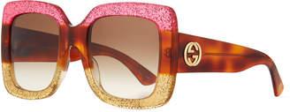Gucci Glittered Gradient Oversized Square Sunglasses