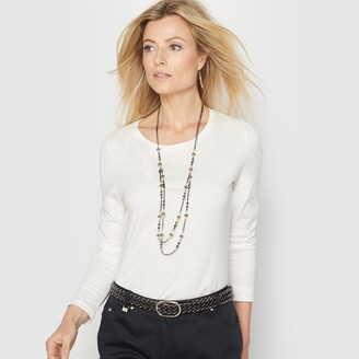 Anne Weyburn Cotton Mix Long-Sleeved T-Shirt with Crew Neck