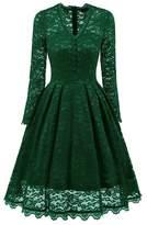 Lya Women 50s Vintage Long Sleeve V-Neck Dress Mother Of The Bridal Dress XXL
