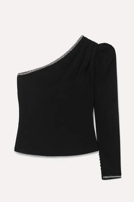 Self-Portrait Self Portrait One-shoulder Embellished Crepe Top - Black