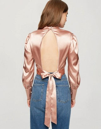Miss Selfridge satin cropped open back blouse in rose