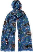 Saint Laurent - Printed Cashmere And Silk-blend Scarf