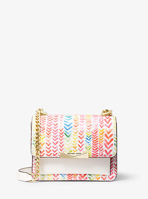MICHAEL Michael Kors MK Jade Extra-Small Printed Logo and Leather Crossbody Bag - White Combo - Michael Kors