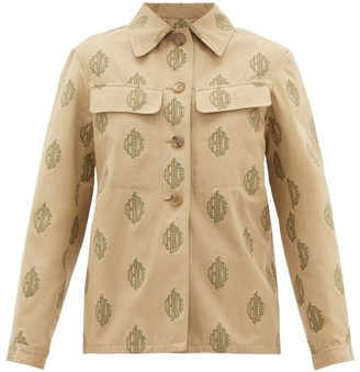 Chloé Logo-jacquard Cotton Jacket - Womens - Beige