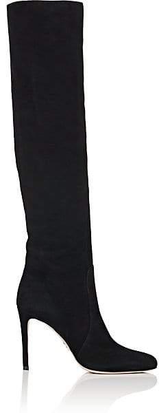 Prada Women's Suede Knee Boots - Nero