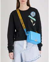 Off-White Flower tape-print cropped cotton-jersey sweatshirt
