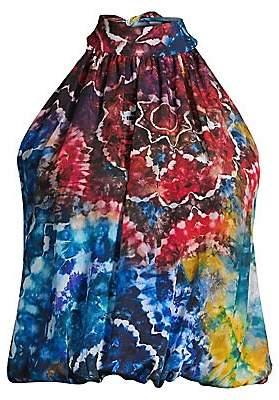 Alice + Olivia Women's Maris Tie-Dye Silk Halter Blouse