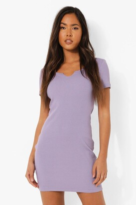 boohoo Notch Neck Short Sleeve Mini Dress