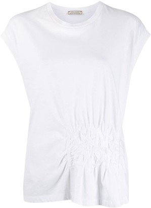 Nina Ricci logo embroidered gathered T-shirt