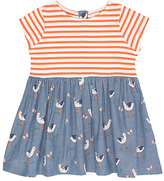 John Lewis Stork and Stripe Dress, Blue/Red