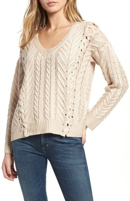 Heartloom Evie Cable Knit Lace-Up Sweater