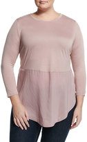 Vince Camuto Mixed-Media Long-Sleeve Tunic, Mauve Dust
