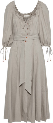 Jonathan Simkhai Belted Ruffle-trimmed Linen-blend Midi Dress