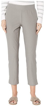Eileen Fisher Washable Stretch Crepe Slim Cropped Pants w/ Side Slits (Smoke) Women's Casual Pants