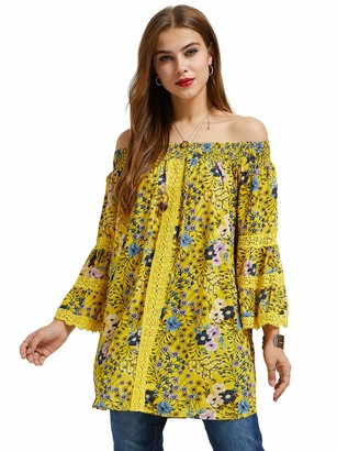 SONJA BETRO Women's Floral Printed Off-Shoulder Lace Trim 3/4 Bell Sleeve Blouse Tunic Top Small Marigold Print