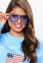 Missguided Blue Large Clear Visor Sunglasses