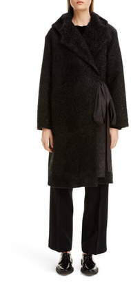 Sara Lanzi Metallic Hooded Duffle Coat