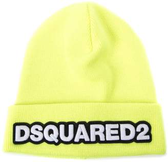 DSQUARED2 Yellow Fluo Dsq2 Wool Hat