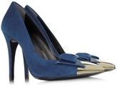 Loriblu Blue Suede with Metallic Toe Pump