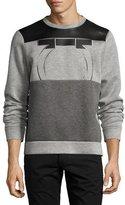 Salvatore Ferragamo Neoprene & Calfskin Leather Gancio Sweatshirt, Gray/Black