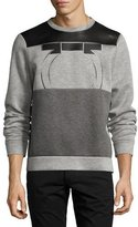Salvatore Ferragamo Neoprene & Leather Gancio Sweatshirt, Gray/Black