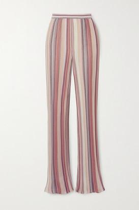 Missoni Metallic Striped Crochet-knit Straight-leg Pants - Pink
