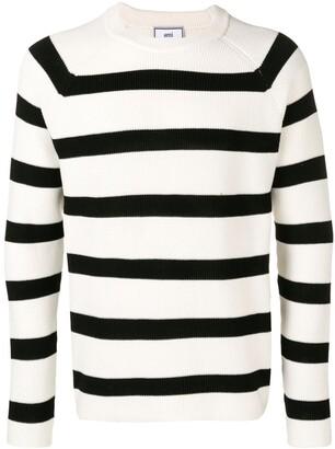 AMI Paris Striped crew neck Sweater Raglan Sleeves