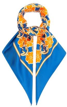 Gucci GG-floral Print Silk-faille Scarf - Orange Multi