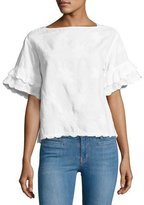 MiH Jeans Fiske Floral-Embroidered Scalloped Top, White
