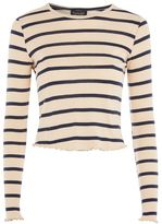 Topshop Striped lettuce long sleeve top