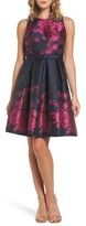 Eliza J Women's Floral Jacquard Fit & Flare Dress