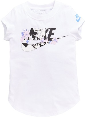 Nike Younger Girls Tokyo Floral Futura Short Sleeve Tee - White