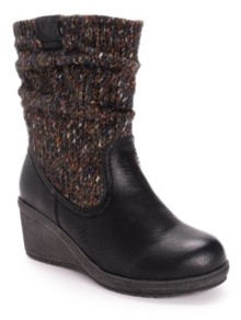 Muk Luks Women's Palmer Sweater Knit Wedge Boots Women's Shoes