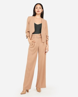 Express High Waisted Square Belted Wide Leg Pant
