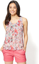 New York & Co. Pleated Chiffon-Overlay Shell - Floral