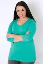 Yours Clothing Jade Green Band Scoop Neckline T-Shirt With 3/4 Sleeves