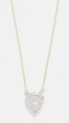 Adina 14k Gold Solid Pave Teardrop Necklace