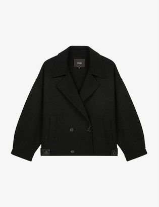 Maje Baeli faux leather-trimmed wool-blend jacket