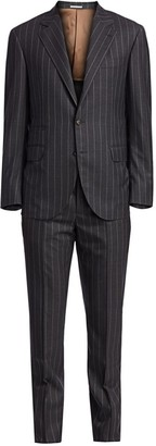 Brunello Cucinelli Bold Pinstripe Wool Suit
