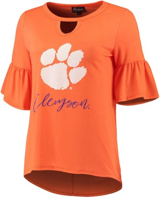 Unbranded Women's Orange Clemson Tigers Ruffle And Ready Keyhole Tri-Blend 3/4-Sleeve T-Shirt