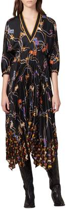 Sandro Moody Floral Pleated A-Line Dress