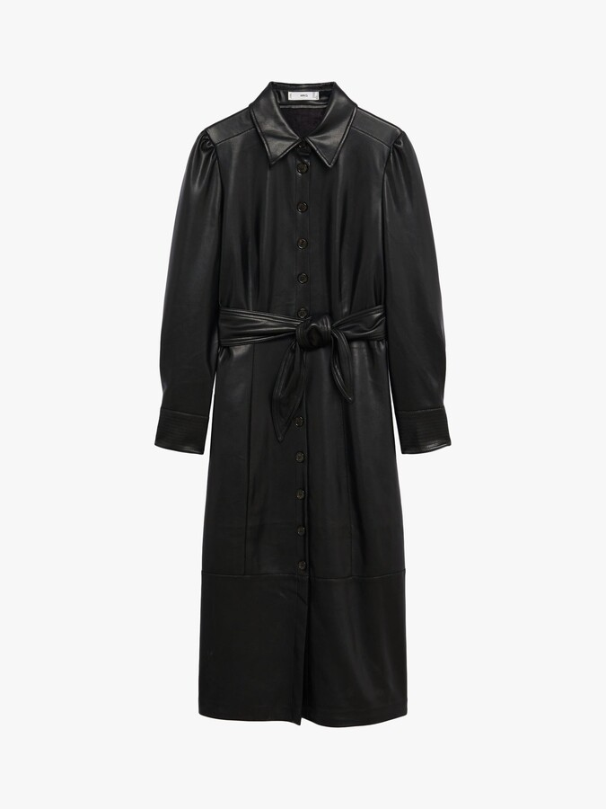 Thumbnail for your product : MANGO Faux Leather Midi Shirt Dress, Black