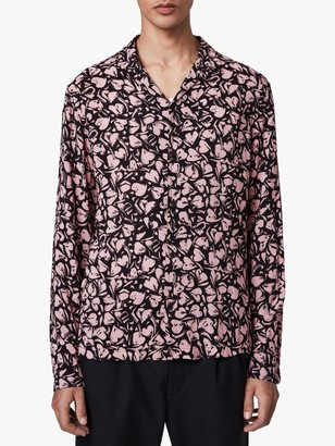 AllSaints Heartbreak Long Sleeve Hawaiian Shirt, Black/Granite Pink